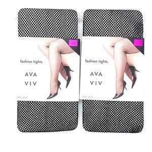 Ava & Viv Black Mesh  Tights Size 2XL (2 Pairs)